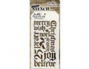 THS066 Stampers Anonymous Tim Holtz Layering Stencil - Holiday Script